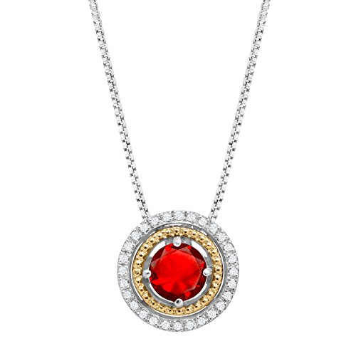 1 1/8 ct Created Ruby Circle Pendant with Diamonds in Sterling Silver and 14K Gold, 18