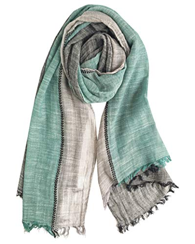 (GERINLY Color Block Summer Scarf for Men Long Neck Wraps Shawl Urbanstyle Scarf Gift for Men (Black Green)