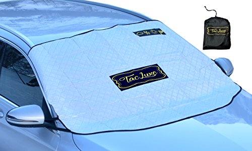 TacLuxe Windshield Cover - Sun Shade For Sun Winter Snow Ice All Season Luxurious Magnetic Car UV and Heat Reflector - Universal Size Fits Most Car-s, SUV-s, Mini-Vans and Pick-Up Truck-s