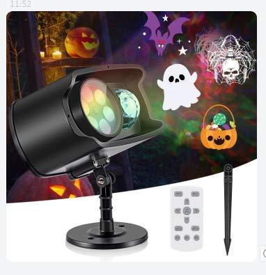 Luces Proyector de Navidad Halloween, AGPTEK Impermeable Exterior Decoración Luz de Proyector con Dos Portalámparas, Control Remoto Automáticamente para Fiestas Festivos Cumpleaños