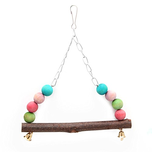 Deboc Bird Parrot Cage Swing Toy, Hanging Stand Hammock, Colorful Wooden Beads Bell Toy(Color Random)