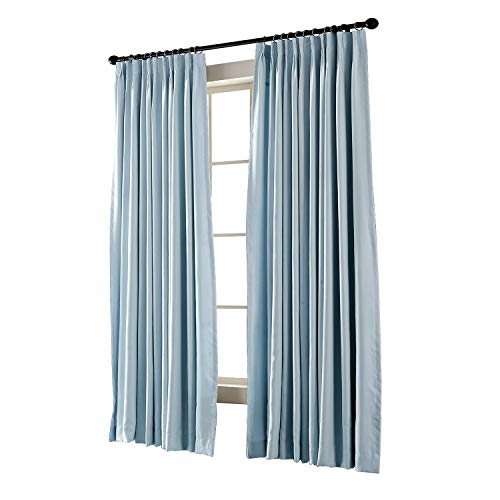 TWOPAGES Pinch Pleated Curtain Sky Blue Solid Thermal Insulated Blackout Drape, 72