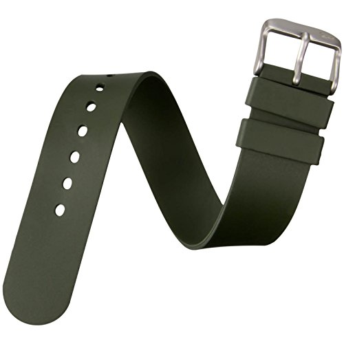 ZULUDIVER Genuine Italian 1 Piece Rubber Dive Sports Watch Band, Green, 20mm by ZULUDIVER