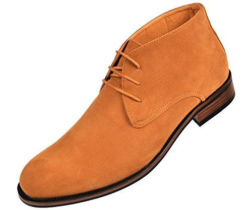 Amali Mens Tan Embossed Microfiber Lace Up Desert Boot with Wood Colored Sole: Style Chief-028