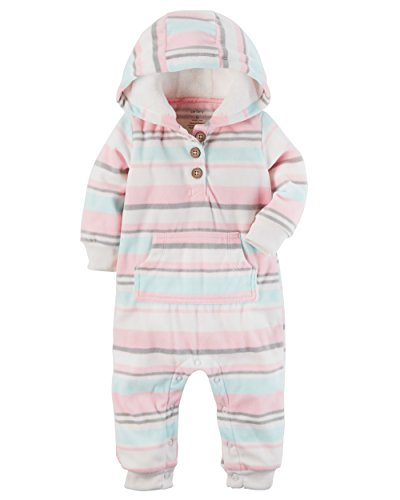 Carter's Baby Girls' Hooded Fleece Jumpsuit Newborn (Carters Hooded Jumpsuit)
