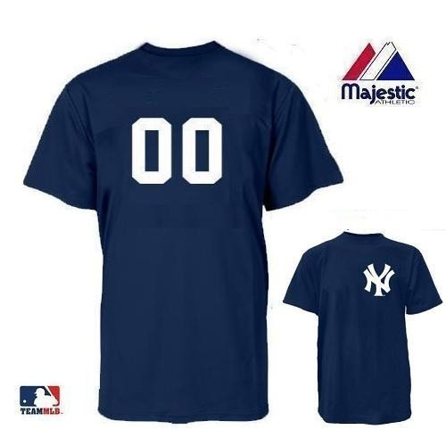 New York Yankees MLB Officially Licensed 100% Cotton Crewneck (Number on Back) Adult (New York Yankees Customized T-shirt)