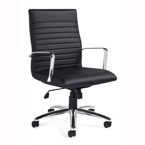 11730B Luxhide Executive Chair, Black Luxhide, Chrome Arms & Base