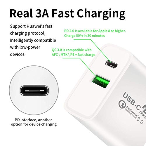 USB C Charger,18W Power Adapter PD Wall Charger,Quick Charge 3.0 Portable Dual USB Charging,Compatible with iPhone 11/11 Pro Max/XR/XS/X, Galaxy ...