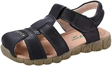 299da46b0c2 Naughtykids Boys Closed-Toe Leather Waterproof Breathable Outdoor Sport  Casual Sandals