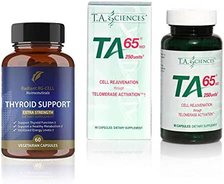 T.A. Sciences | TA-65 Supplement | 1x90 Capsules | 250 U | Free Extra Strength Thyroid Support