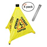 Tiger Chef Commercial 19 1/2 inch Pop-Up Safety Cone with Storage Tube Multi-Lingual Caution Imprint and Wet Floor Symbol, Yellow 4 Pack