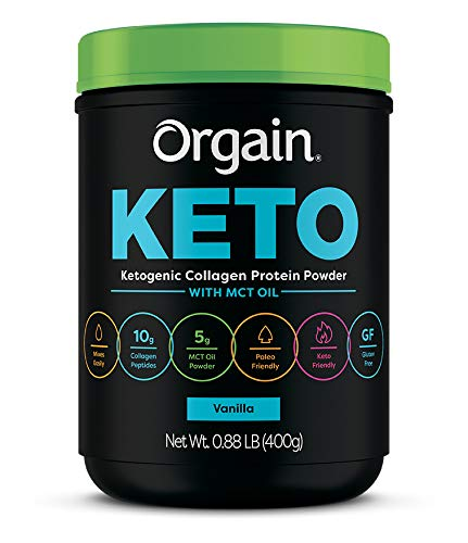 Orgain Keto Collagen Protein Powder with MCT Oil, Vanilla - Paleo Friendly, Grass Fed Hydrolyzed Collagen Peptides Type I and III, Dairy Free, Lactose Free, Gluten Free, Soy Free, 0.88 Pound 1