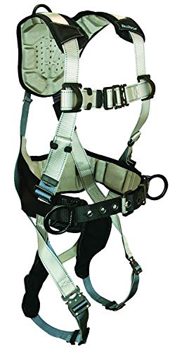 (FallTech 7089M FlowTech Belted Construction Full Body Harness with 3 D-Rings, FlowScape Pads, Quick Connect Legs and Chest, Gray/Black, Medium )