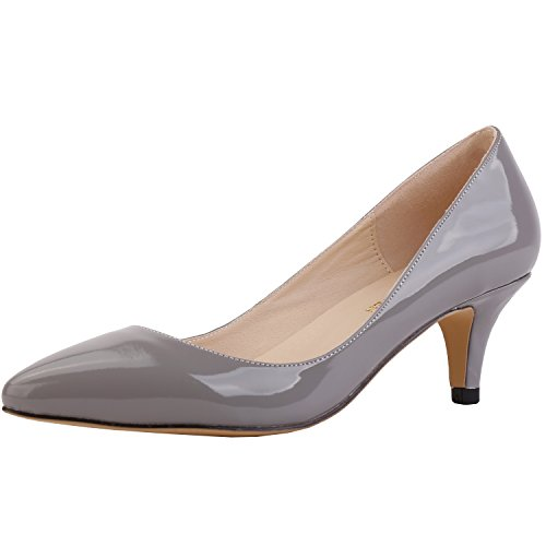 SAMSAY Women's Slender Kitten Heels Pointed Toe Pumps Court Shoes,Gray,41 M EU / 9 B(M) US