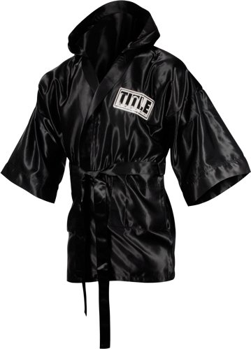 TITLE Boxing 3/4 Length Stock Satin Robe, Black, Small