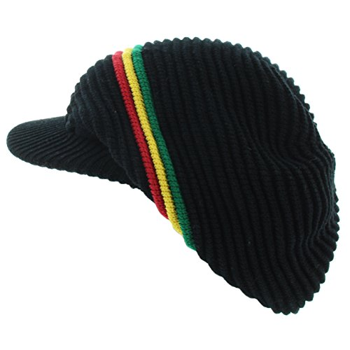 (Milani Rasta Ribbed and Slouchy Beanie Visor Cap Woven Hat w/Red Yellow Green Stripe (0014 Black))