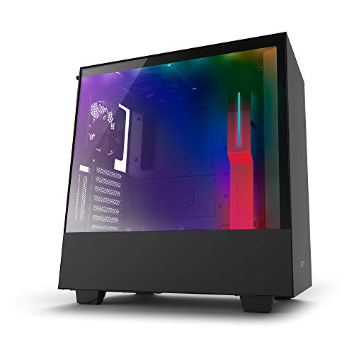 Price comparison product image NZXT H500i Black and Red Mid Tower PC Case with 2 AER F Fans,  Tempered Glass Side Panel,  2 USB 3.0 Ports,  2 RGB Strips and CAM Smart Device,  Supports ATX,  MicroATX and Mini-ITX Motherboards