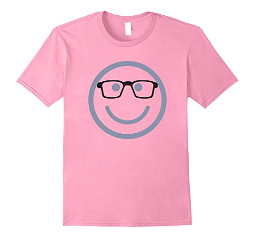 Mens Nerd Face with Glasses Funny Costume Halloween T-Shirt Large Pink