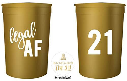 Legal AF 21st Birthday Party Cups and 1