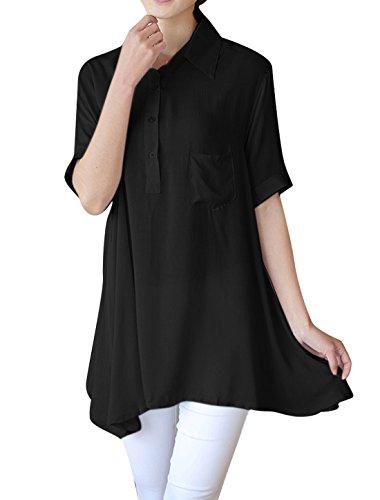 気づく擬人化合計[Allegra K] トップス シャツ ブラウス 半袖 無地 襟付き ゆったり シンプル 夏 レディース ブラック XS