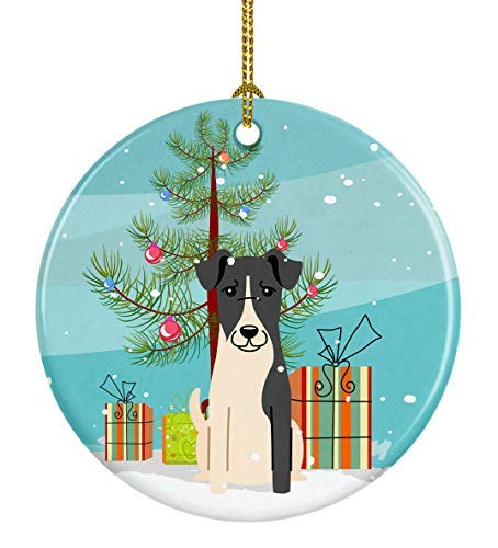 Caroline's Treasures Merry Christmas Tree Smooth Fox Terrier Ceramic Ornament