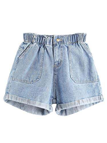 Milumia Women Plus Size Rolled Hem Pocket Casual Denim Shorts Plus-Blue3 0XL