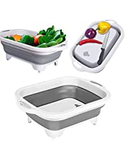 Collapsible Cutting Board Chopping Board Collapsible Camping Sink with Drain Plug Foldable Dish Tub BBQ Prep Tub Camping RV Cutting Board Collapsible Wash Basin with Colander for Washing Veggies Fruit