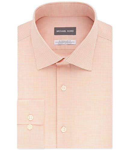 Michael Kors Mens Non-Iron Airsoft Button Up Dress Shirt, Orange, 16.5