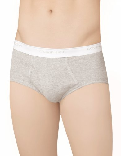 Calvin Klein Men's 3-Pack Basic Brief, Cobalt Water/Deep Platinum/Primary Orange, 34