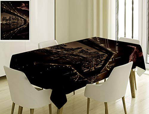(Unique Custom Cotton And Linen Blend Tablecloth 9 Apartment Decor Brooklyn Bridge Sunset New York Manhattan Skyline Tourist Attraction Modern City PicTablecovers For Rectangle Tables, 70 x 52)