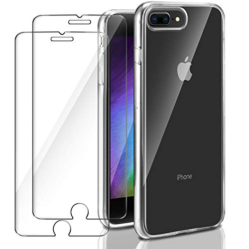 Funda iPhone 7 Plus / iPhone 8 Plus + 2 x Cristal Protector de pantalla ,ivencase Kit de Protección Completa Estuche...
