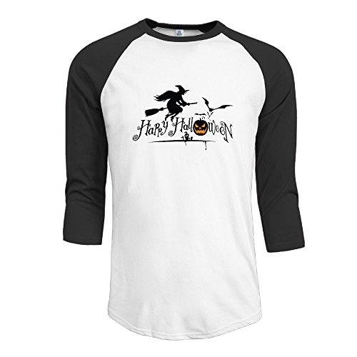 Bekey Men's Happy Halloween Raglan Baseball T-shirtsTee Raglan Black - Small (Pumpkin Cut Outs Halloween)