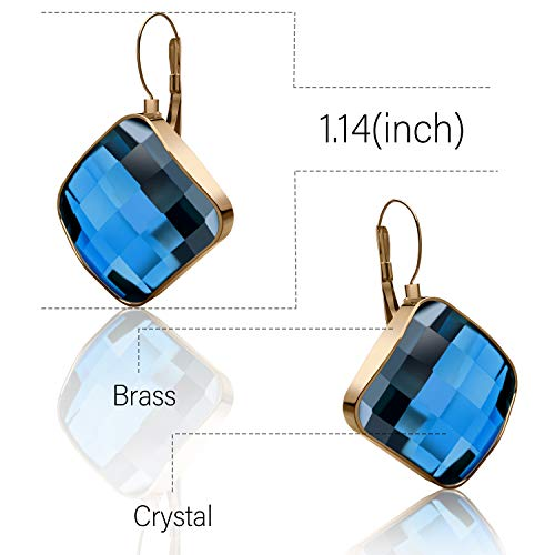 Dangle Earrings For Women Stainless Steel 14K Rose Gold Plated Earring Cubic Zirconia Leverback Hypoallergenic Drop Earring Blue