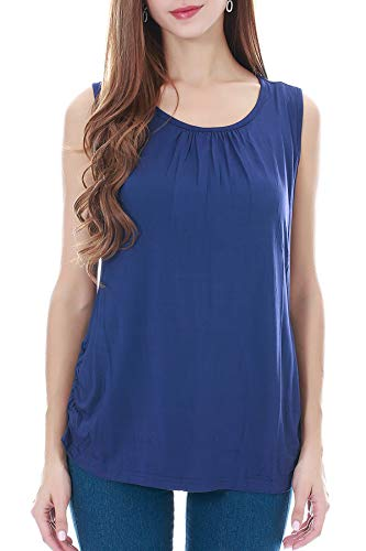 Smallshow Women's Maternity Nursing Tank Top Sleeveless Comfy Breastfeeding Clothes,Navy,Medium ()