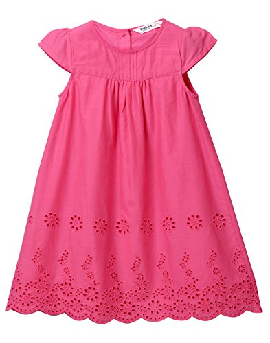 Beebay Pink Cotton Eyelet A-Line Dress From (Pink, 7Y) (Eyelet Dress Pink)