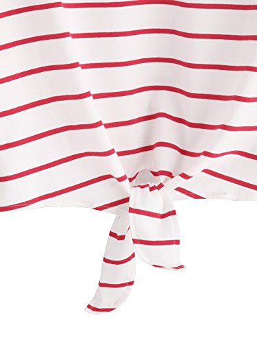 a621b05eb0c ROMWE Women's Knot Front Long Sleeve Striped Crop Top Tee T-shirt, White &  Red, Medium(US 4-6)
