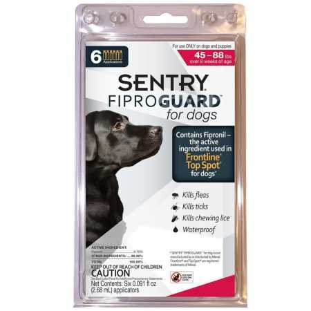 SENTRY Fiproguard for Dogs, Flea and Tick Prevention for Dogs (45-88 Pounds), Includes 6 Month Supply of Topical Flea Treatments (Best Topical Flea Treatment)