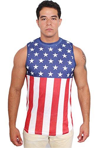 Exist USA Flag Men's Sleeveless Shirt Crew Neck Tank Top: XL]()