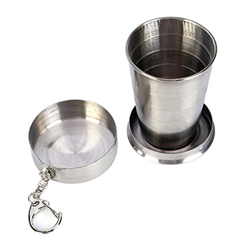 Camping Hiking Folding Portable With Keychain Collapsible Cup Stainless Steel Camping Folding Cup Mug Traveling Outdoor (L 250ML)