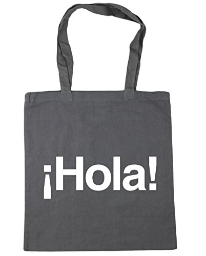 10 Gym HippoWarehouse 42cm Tote Bag litres Grey x38cm Beach Hola Greeting Graphite Shopping Spanish rnrvU