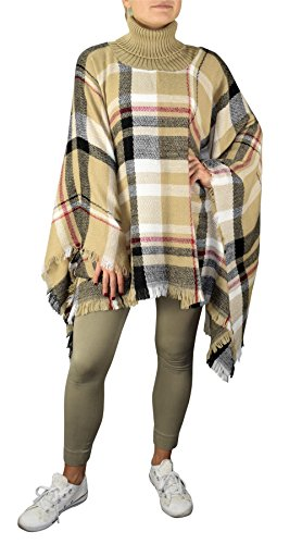 [Peach Couture Cowl Neck Plaid tartan over sized blanket scarf Winter Poncho Sweater Pullovers Tan Black] (Plaid Cowl Neck)