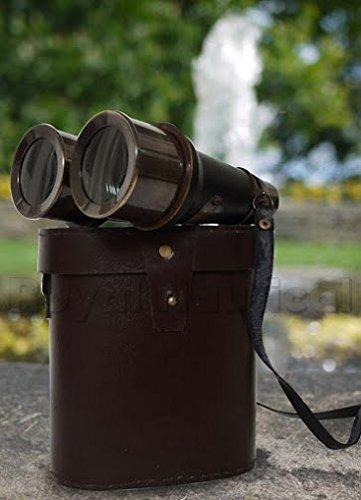 アンティークブラック双眼ヴィンテージNautical Marine Spyglass真鍮双眼/ Telescope withレザーケース骨董品 B01FFT10WM