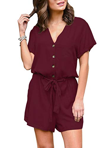 ANRABESS Womens Jumpsuits Casual Button Deep V Neck Short Sleeve Romper DNKjiuhong-L WFF13 WineRed (Button Romper)