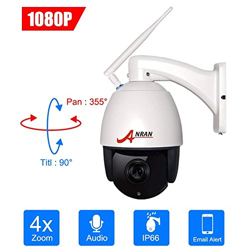 ANRAN 1080P Wireless IP Surveillance Security Camera PTZ 4×Optical Zoom High Speed Dome Home Security CCTV Indoor/Outdoor Waterproof IP66,355°Pan 90°Tilt,Built-in Microphone,P2P,with 16GB TF Card