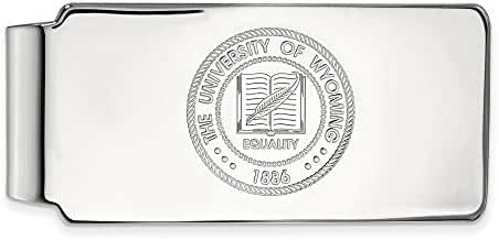 10k White Gold LogoArt Official Licensed Collegiate The University of Wyoming (UW) Money Clip Crest