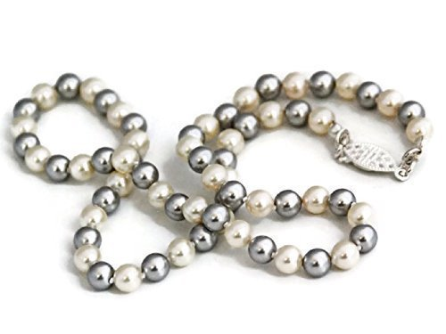 16 1/2 Inch Premium Swarovski Elements Simulated Hand Knotted Cream and Grey Pearl Necklace with Silver Tone Filigree Clasp ()