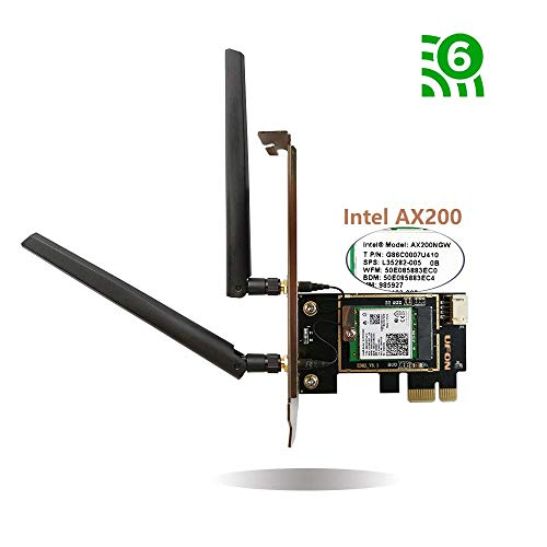 Gigabit(+) 802.11AX 2976Mbps Bluetooth 5.0 PCIe WiFi Card with AX200 WiFi 6 Card PCI-E Adapter 11ax WiFi Adapter for PC Wireless Card 2x2 Dual Band Wi-Fi 6 Adapter OFDMA for Desktop Support Windows 10