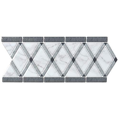 Bathroom Backsplash Tile (LONGKING Peel and Stick Backsplash Decortaive Tile Stickers Waist Line Retro Mosaic Wall Sticker Kitchen Cabinet Toilet Border, 12.4