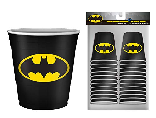 DC Comics BN11217C Batman Logo Mini Plastic Party Cup Set, 2-Ounce, 20 Piece, black