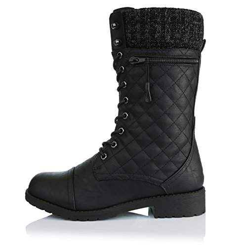 Bootie Combat Military Card Knife Money Credit Pu Quilted Knit Quilted Women's Pocket Ankle DailyShoes Style Boots Wallet up Black X1fpw0